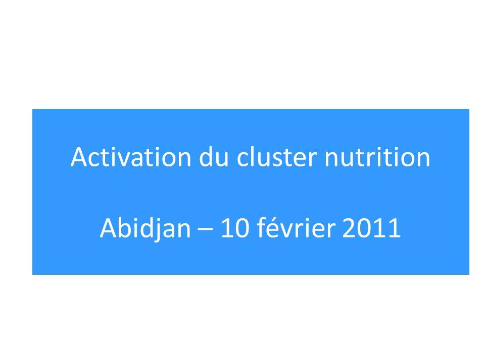 Activation du cluster nutrition Abidjan – 10 février 2011