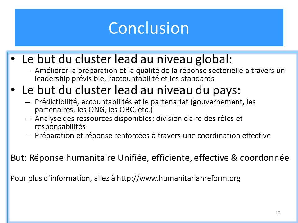 10 Conclusion Le but du cluster lead au niveau global: – Améliorer la préparation et la qualité de la réponse sectorielle a travers un leadership prév