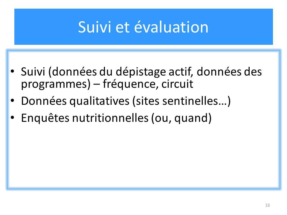 16 Suivi et évaluation Suivi (données du dépistage actif, données des programmes) – fréquence, circuit Données qualitatives (sites sentinelles…) Enquêtes nutritionnelles (ou, quand)