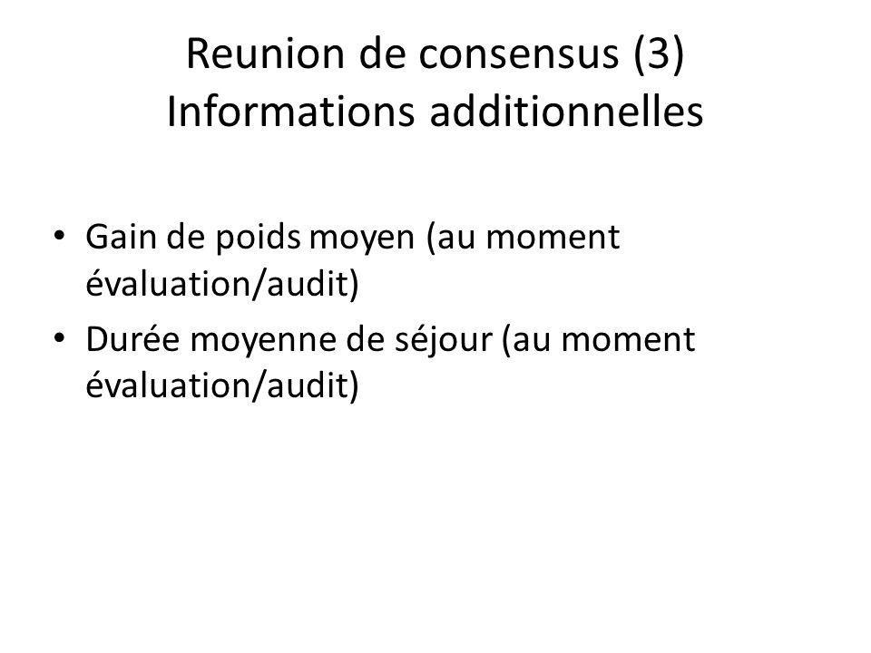 Reunion de consensus (3) Informations additionnelles Gain de poids moyen (au moment évaluation/audit) Durée moyenne de séjour (au moment évaluation/au