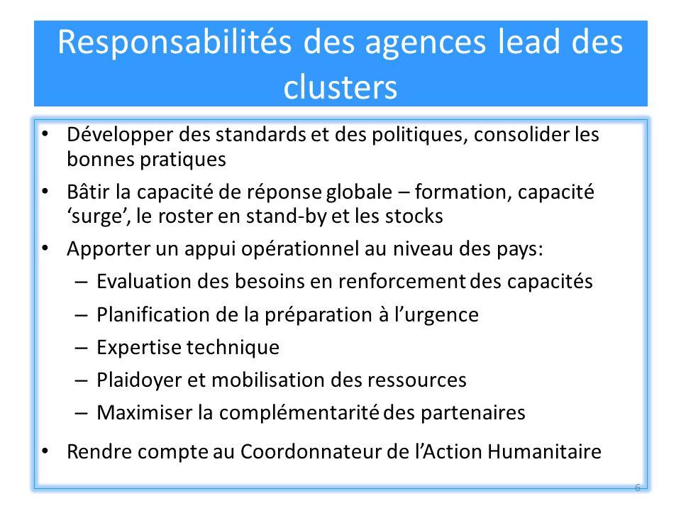 6 Responsabilités des agences lead des clusters Développer des standards et des politiques, consolider les bonnes pratiques Bâtir la capacité de répon