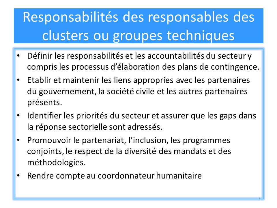 7 Responsabilités des responsables des clusters ou groupes techniques Définir les responsabilités et les accountabilités du secteur y compris les processus délaboration des plans de contingence.