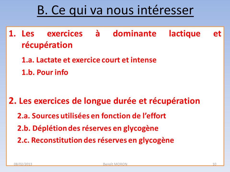 B. Ce qui va nous intéresser 1.Les exercices à dominante lactique et récupération 1.a. Lactate et exercice court et intense 1.b. Pour info 2. Les exer