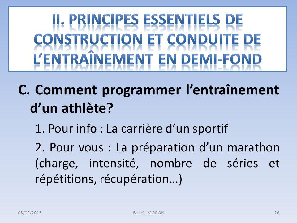 C. Comment programmer lentraînement dun athlète? 1. Pour info : La carrière dun sportif 2. Pour vous : La préparation dun marathon (charge, intensité,