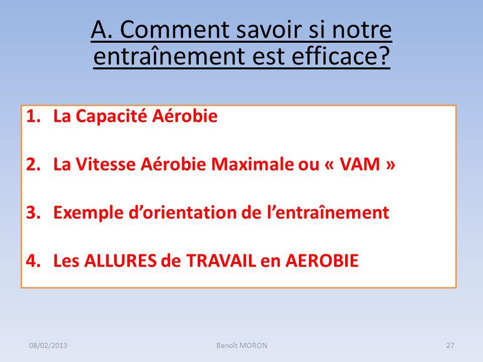 A. Comment savoir si notre entraînement est efficace? 1.La Capacité Aérobie 2.La Vitesse Aérobie Maximale ou « VAM » 3.Exemple dorientation de lentraî