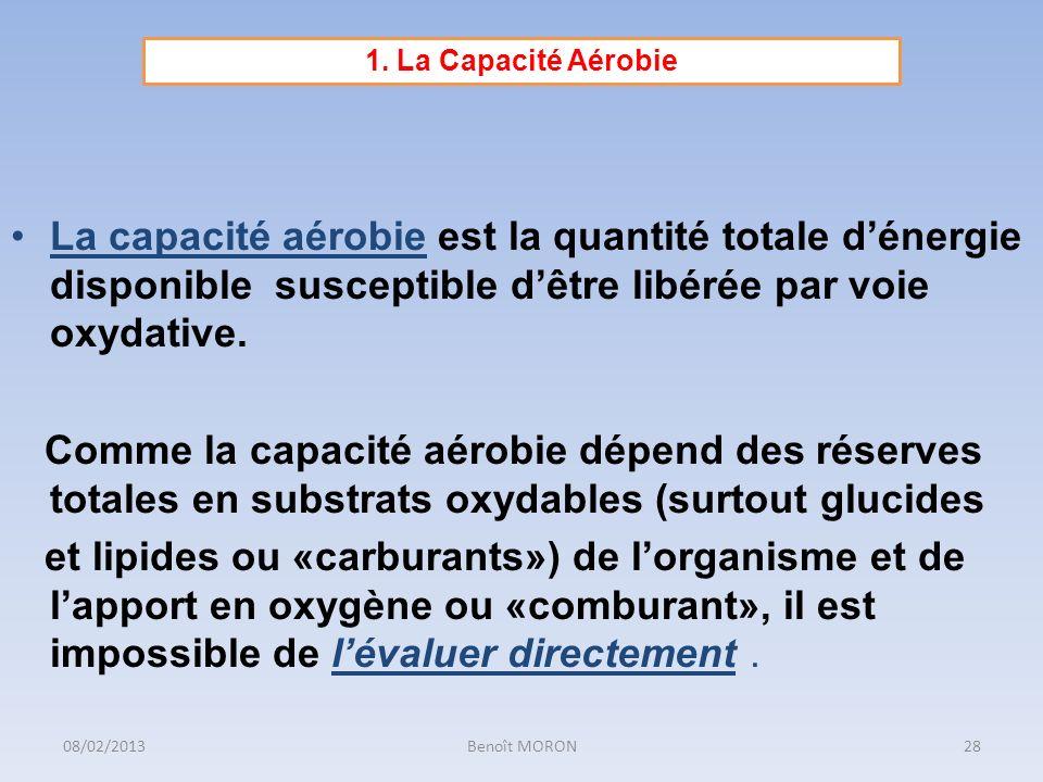 La capacité aérobie est la quantité totale dénergie disponible susceptible dêtre libérée par voie oxydative. Comme la capacité aérobie dépend des rése