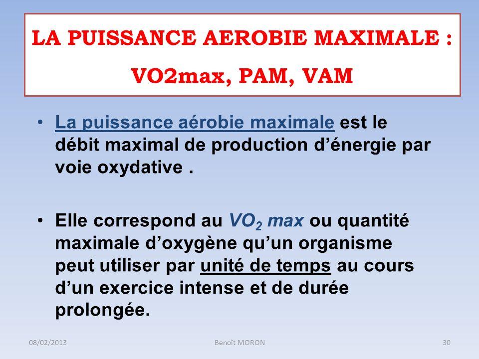 La puissance aérobie maximale est le débit maximal de production dénergie par voie oxydative. Elle correspond au VO 2 max ou quantité maximale doxygèn