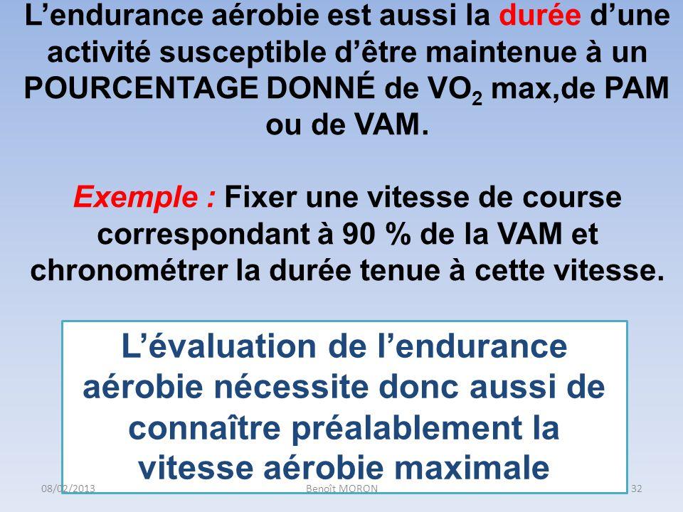 Lendurance aérobie est aussi la durée dune activité susceptible dêtre maintenue à un POURCENTAGE DONNÉ de VO 2 max,de PAM ou de VAM. Exemple : Fixer u