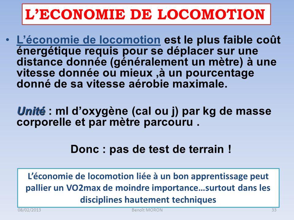 Léconomie de locomotion est le plus faible coût énergétique requis pour se déplacer sur une distance donnée (généralement un mètre) à une vitesse donn