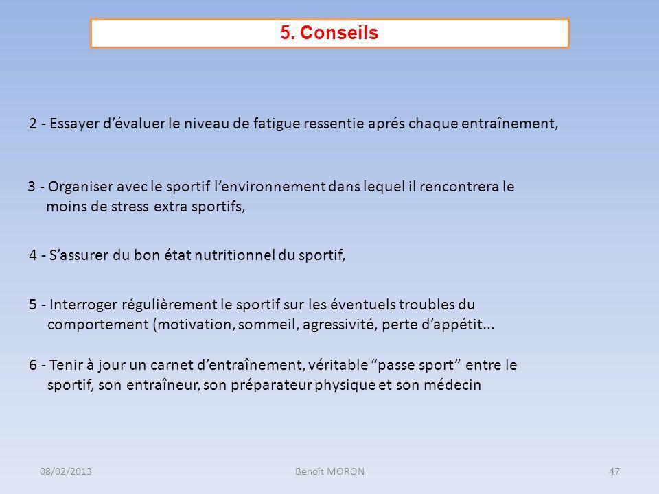 2 - Essayer dévaluer le niveau de fatigue ressentie aprés chaque entraînement, 3 - Organiser avec le sportif lenvironnement dans lequel il rencontrera