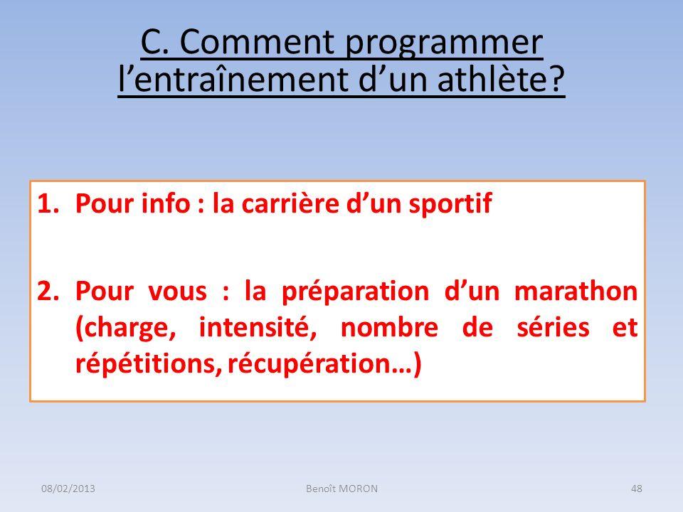 C. Comment programmer lentraînement dun athlète? 1.Pour info : la carrière dun sportif 2.Pour vous : la préparation dun marathon (charge, intensité, n