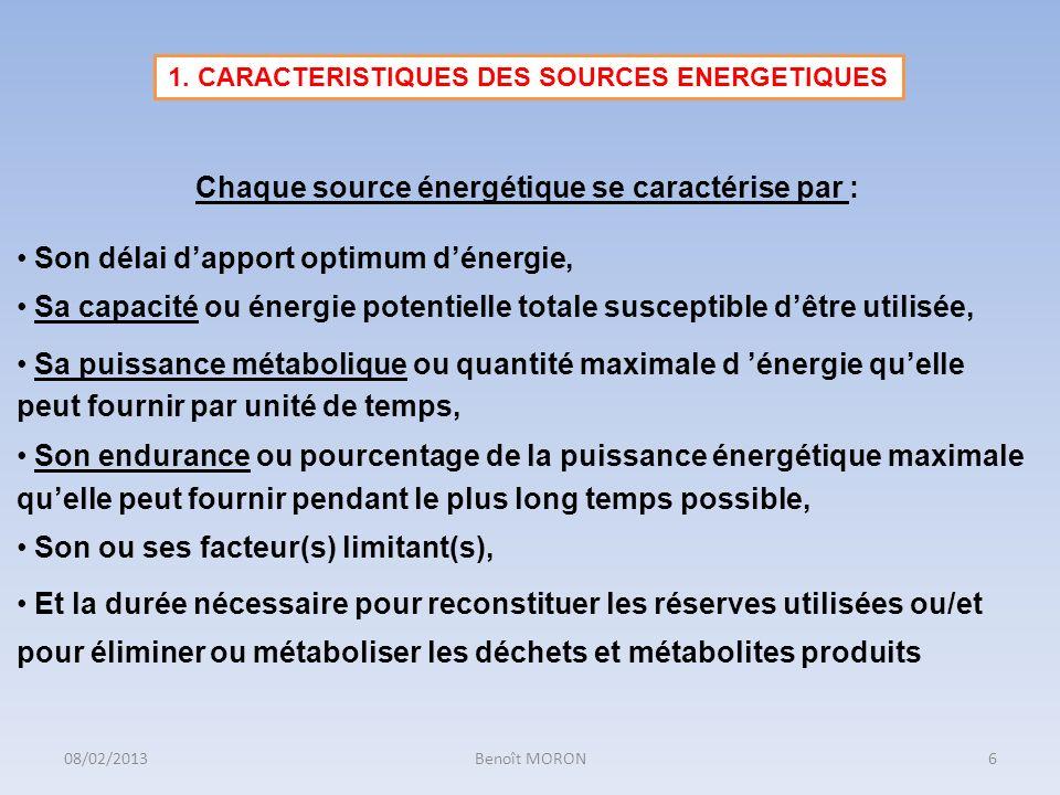 1. CARACTERISTIQUES DES SOURCES ENERGETIQUES Chaque source énergétique se caractérise par : Son délai dapport optimum dénergie, Sa capacité ou énergie