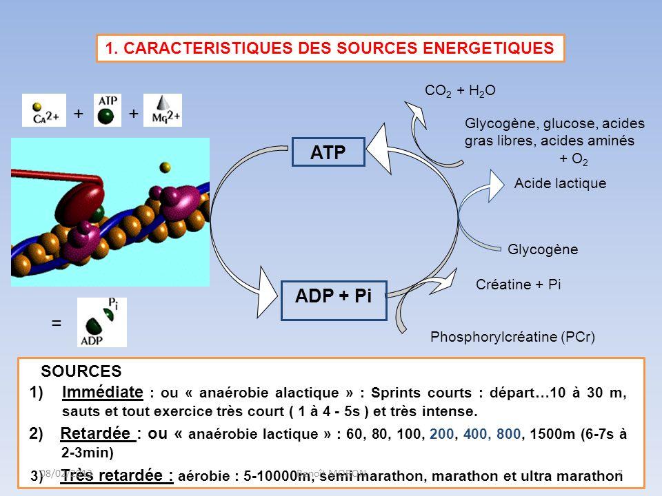 ATP ADP + Pi Créatine + Pi Phosphorylcréatine (PCr) SOURCES 1)Immédiate : ou « anaérobie alactique » : Sprints courts : départ…10 à 30 m, sauts et tou