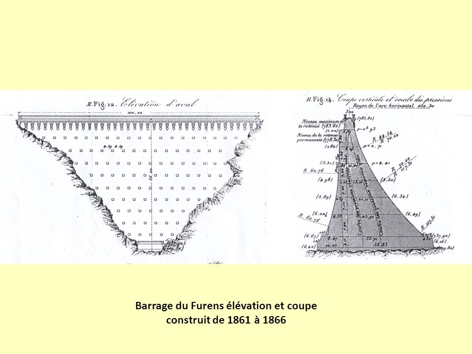 Barrage du Furens élévation et coupe construit de 1861 à 1866