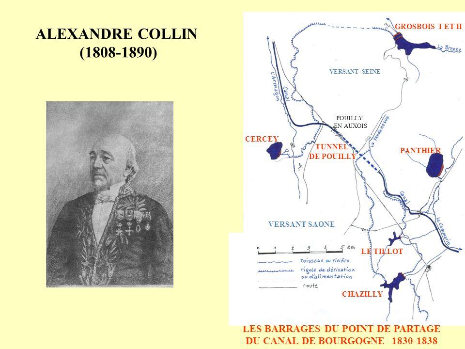 Corps du barrage en construction Puits de reconnaissance Surface de glissement SECTION LONGITUDINALE COUPES TRANSVERSALES Trace du glissement GLISSEMENT EN RIVE GAUCHE - BARRAGE DE GROSBOIS - 1833