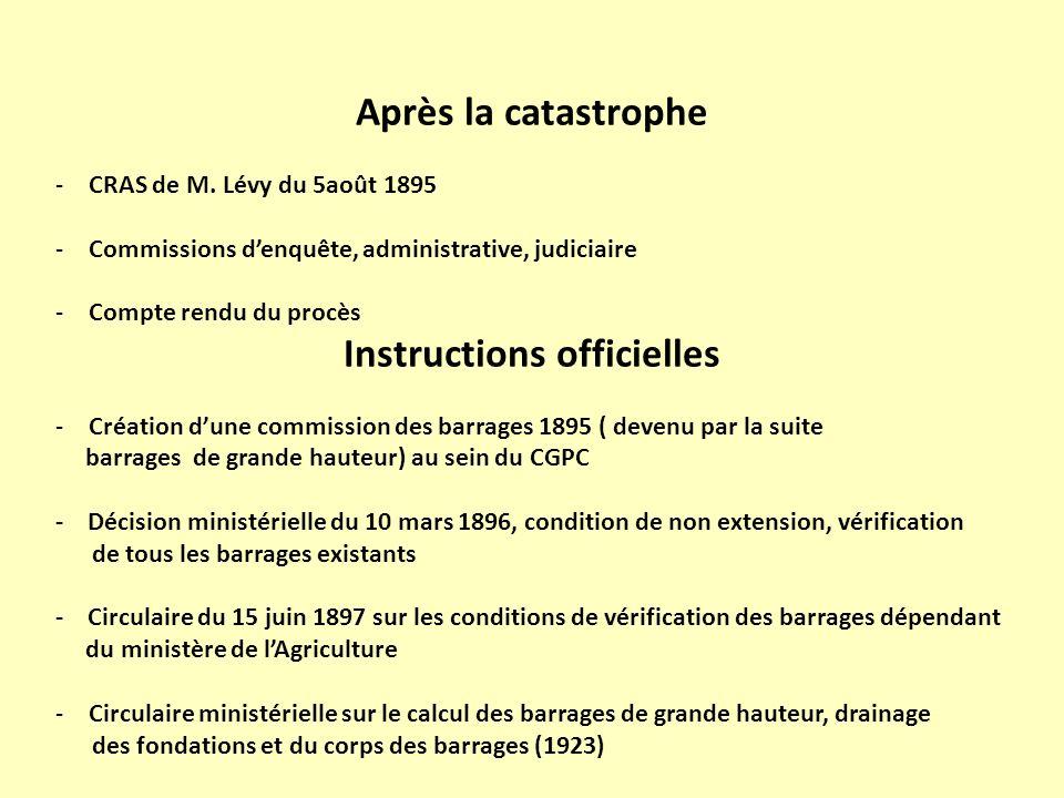 Après la catastrophe -CRAS de M. Lévy du 5août 1895 -Commissions denquête, administrative, judiciaire -Compte rendu du procès Instructions officielles