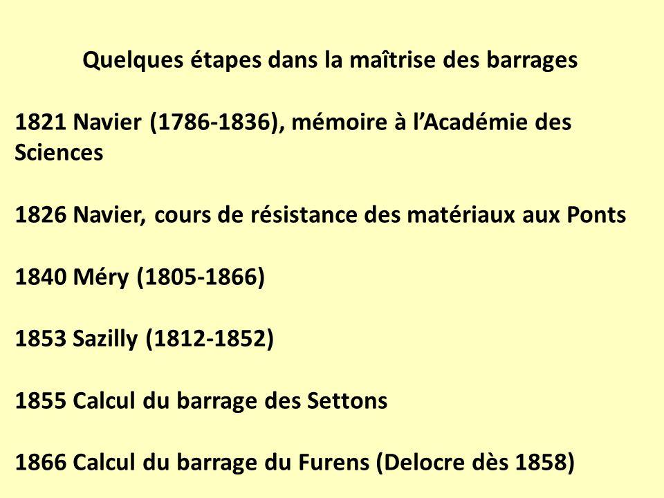 Quelques étapes dans la maîtrise des barrages 1821 Navier (1786-1836), mémoire à lAcadémie des Sciences 1826 Navier, cours de résistance des matériaux