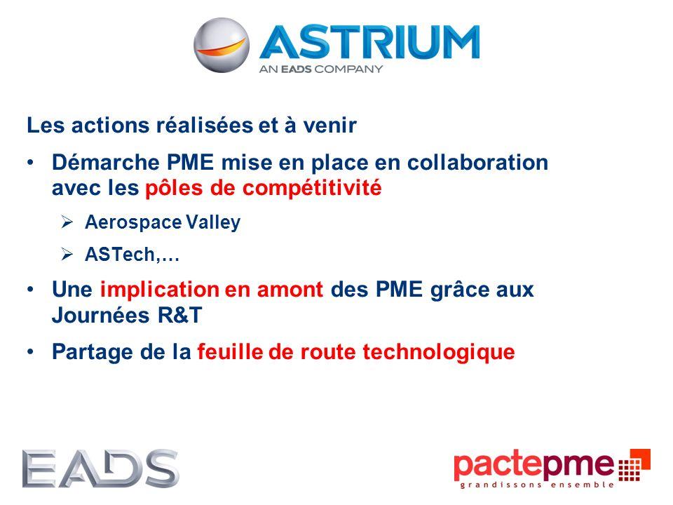 Les actions réalisées et à venir Démarche PME mise en place en collaboration avec les pôles de compétitivité Aerospace Valley ASTech,… Une implication