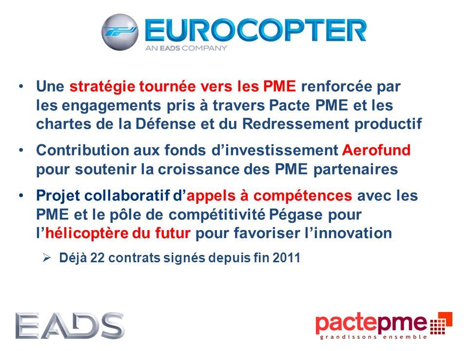 Une stratégie tournée vers les PME renforcée par les engagements pris à travers Pacte PME et les chartes de la Défense et du Redressement productif Co