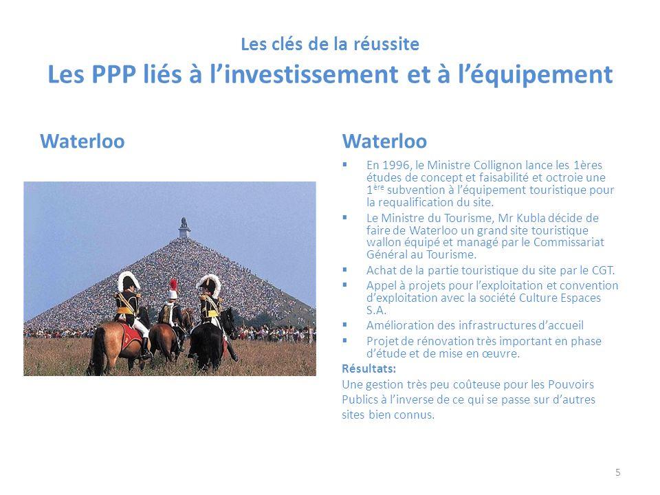 Les clés de la réussite Les PPP liés à linvestissement et à léquipement Waterloo En 1996, le Ministre Collignon lance les 1ères études de concept et faisabilité et octroie une 1 ère subvention à léquipement touristique pour la requalification du site.