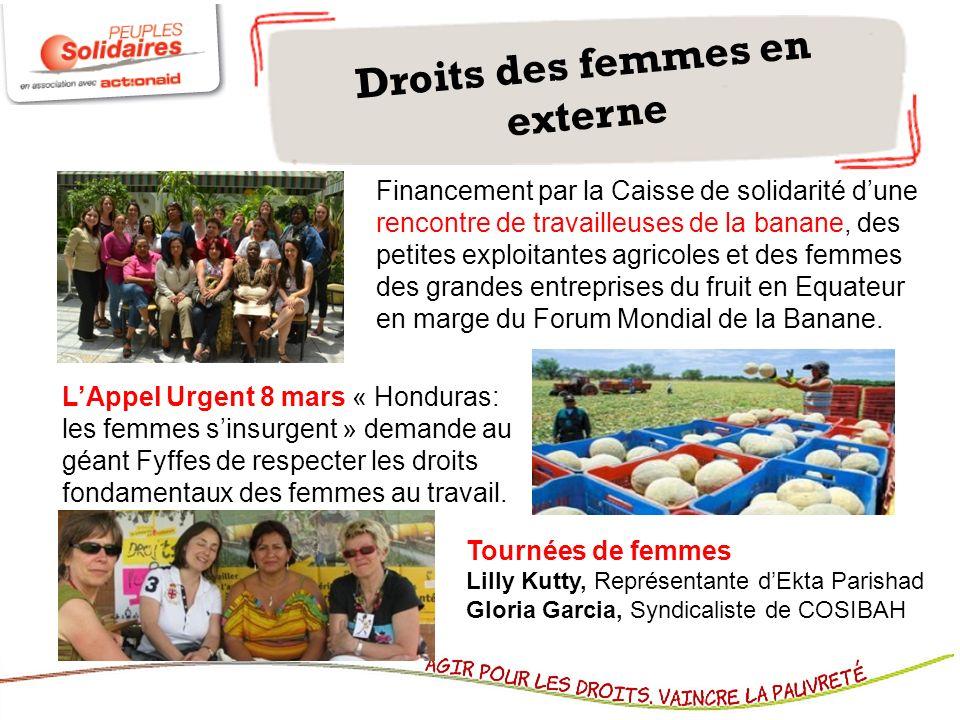 Droits des femmes en externe Financement par la Caisse de solidarité dune rencontre de travailleuses de la banane, des petites exploitantes agricoles et des femmes des grandes entreprises du fruit en Equateur en marge du Forum Mondial de la Banane.