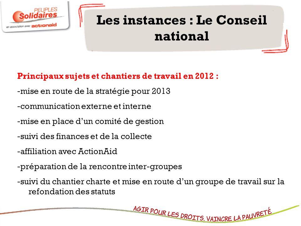 Les instances : Le Conseil national Principaux sujets et chantiers de travail en 2012 : -mise en route de la stratégie pour 2013 -communication extern