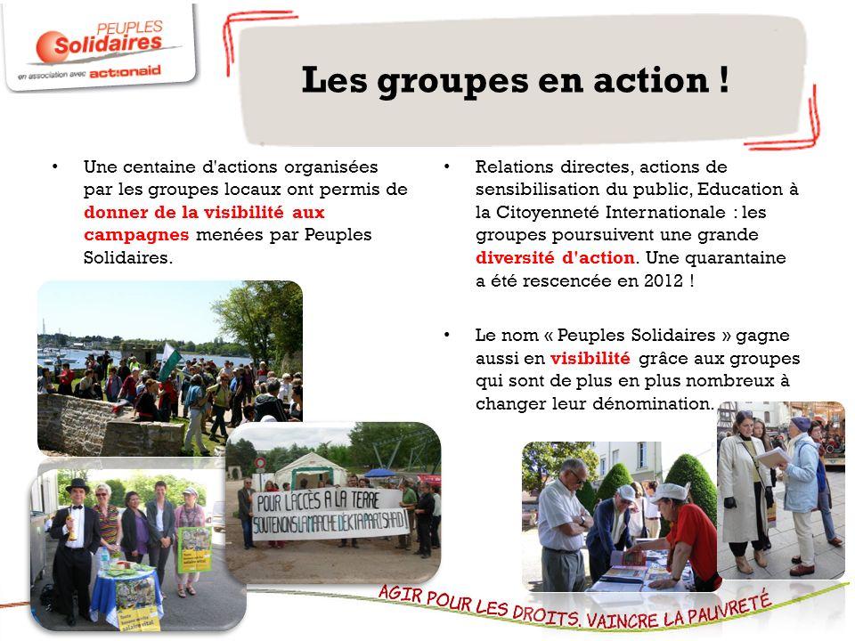 Une centaine d'actions organisées par les groupes locaux ont permis de donner de la visibilité aux campagnes menées par Peuples Solidaires. Relations
