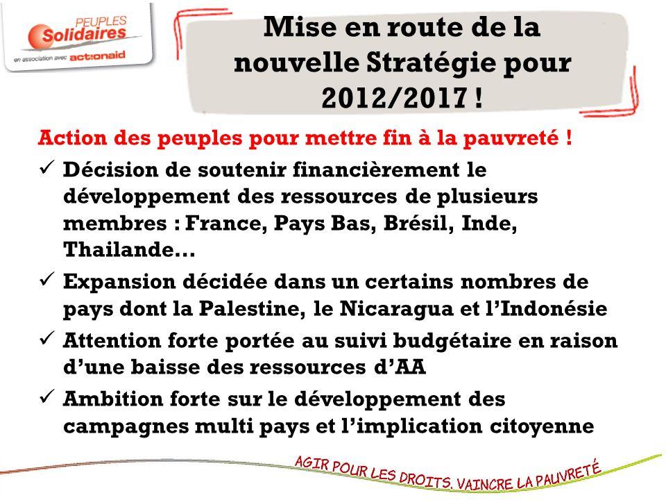 Mise en route de la nouvelle Stratégie pour 2012/2017 ! Action des peuples pour mettre fin à la pauvreté ! Décision de soutenir financièrement le déve
