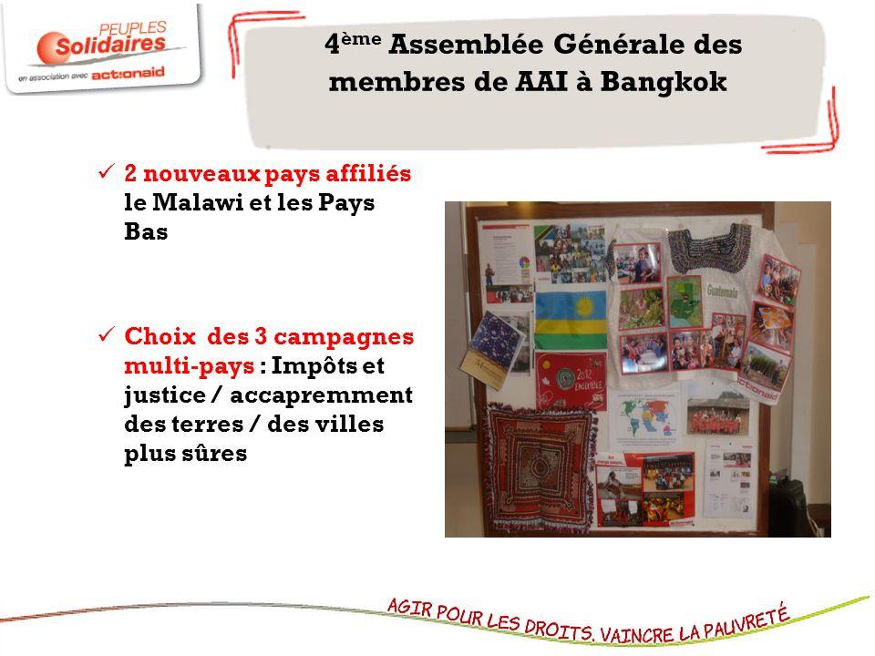 2 nouveaux pays affiliés le Malawi et les Pays Bas Choix des 3 campagnes multi-pays : Impôts et justice / accapremment des terres / des villes plus sûres 4 ème Assemblée Générale des membres de AAI à Bangkok