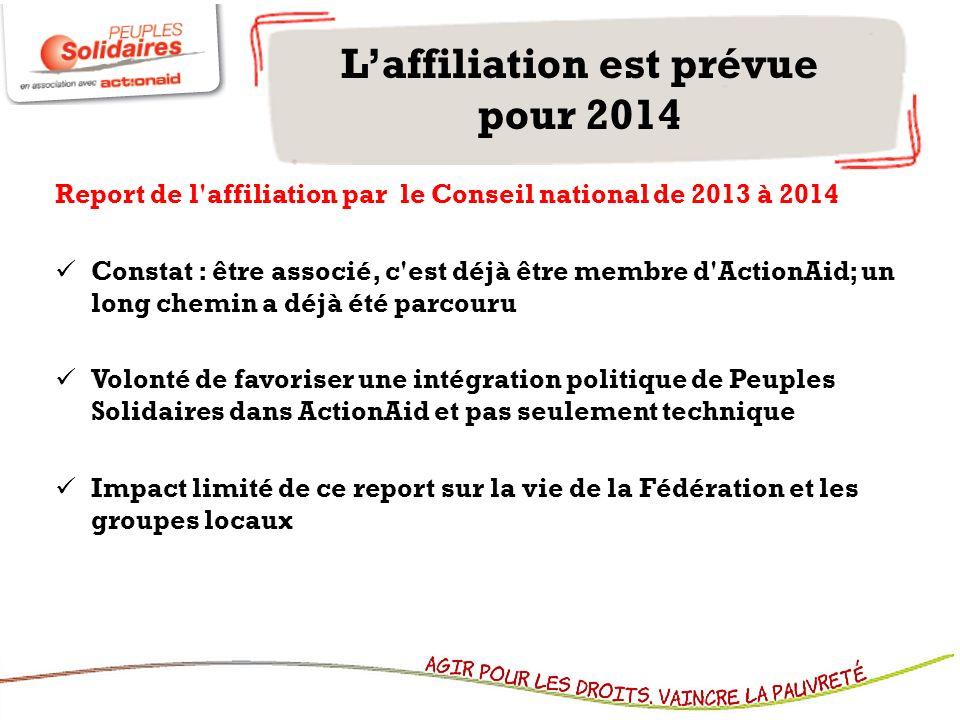 Laffiliation est prévue pour 2014 Report de l'affiliation par le Conseil national de 2013 à 2014 Constat : être associé, c'est déjà être membre d'Acti