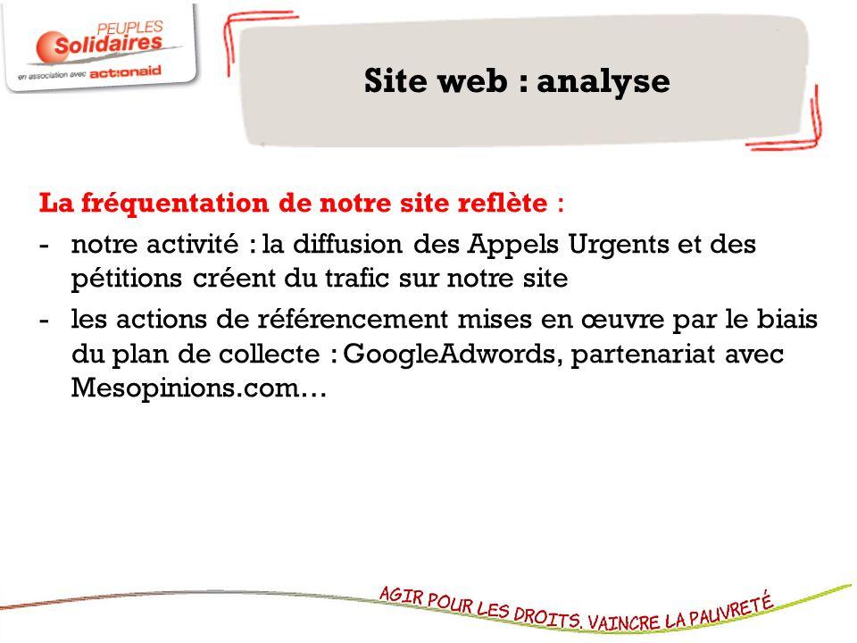 Site web : analyse La fréquentation de notre site reflète : -notre activité : la diffusion des Appels Urgents et des pétitions créent du trafic sur no