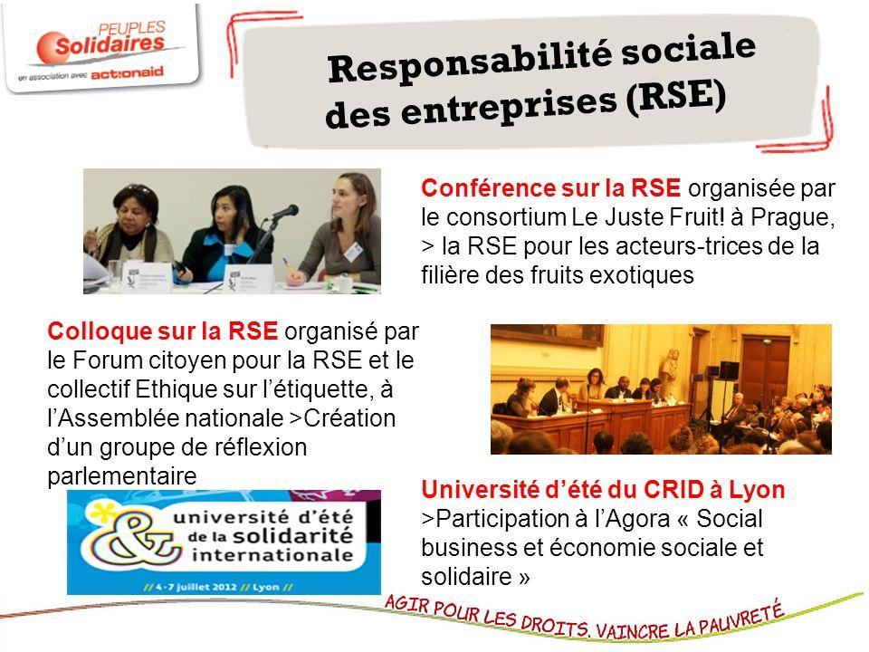 Responsabilité sociale des entreprises (RSE) Colloque sur la RSE organisé par le Forum citoyen pour la RSE et le collectif Ethique sur létiquette, à l
