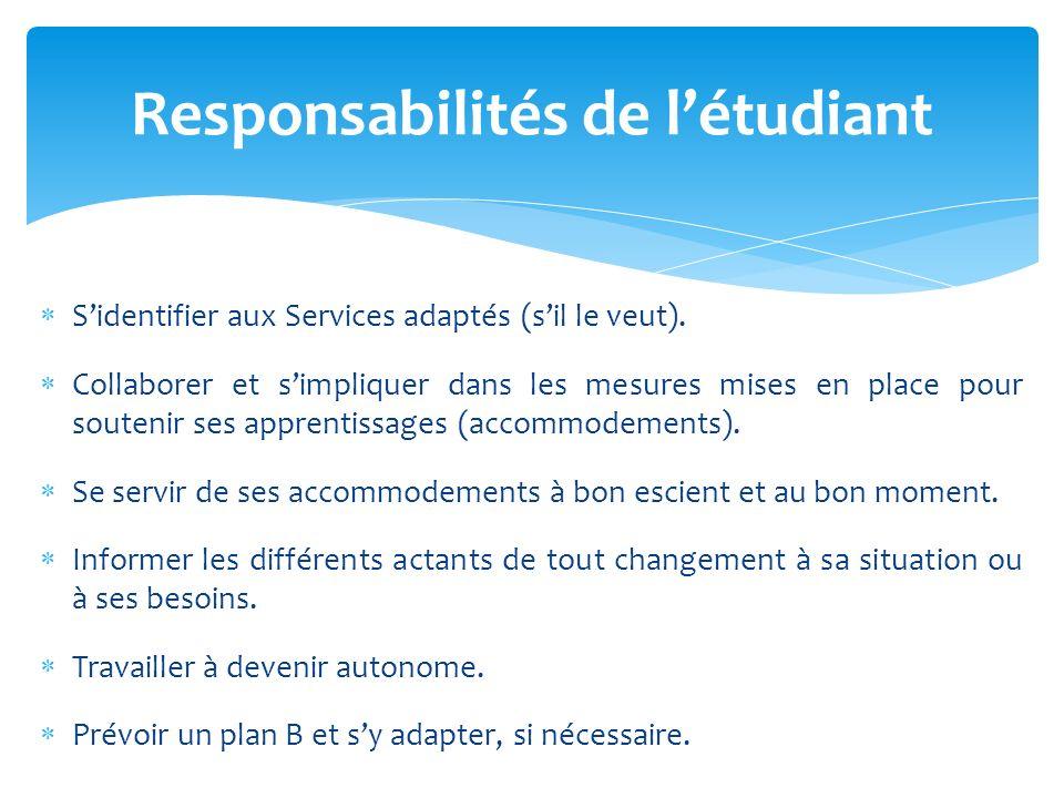 Sidentifier aux Services adaptés (sil le veut).