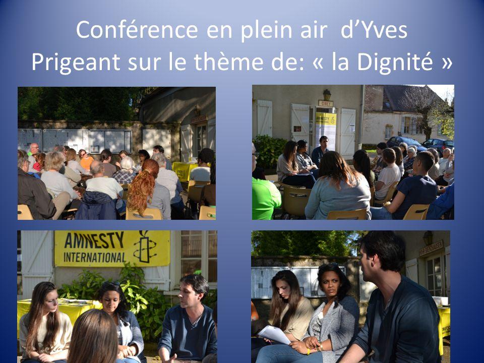 Conférence en plein air dYves Prigeant sur le thème de: « la Dignité »