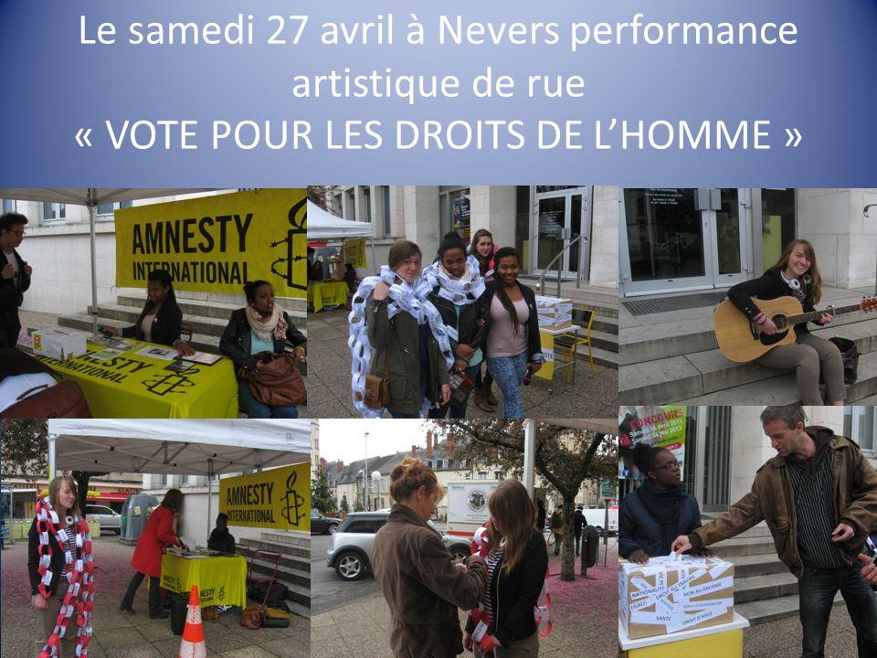 Le samedi 27 avril à Nevers performance artistique de rue « VOTE POUR LES DROITS DE LHOMME »