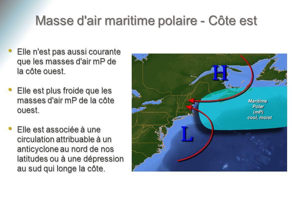 Masse d'air maritime polaire - Côte est Elle n'est pas aussi courante que les masses d'air mP de la côte ouest. Elle n'est pas aussi courante que les