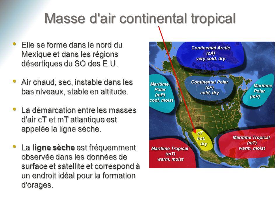 Masse d'air continental tropical Elle se forme dans le nord du Mexique et dans les régions désertiques du SO des E.U. Elle se forme dans le nord du Me