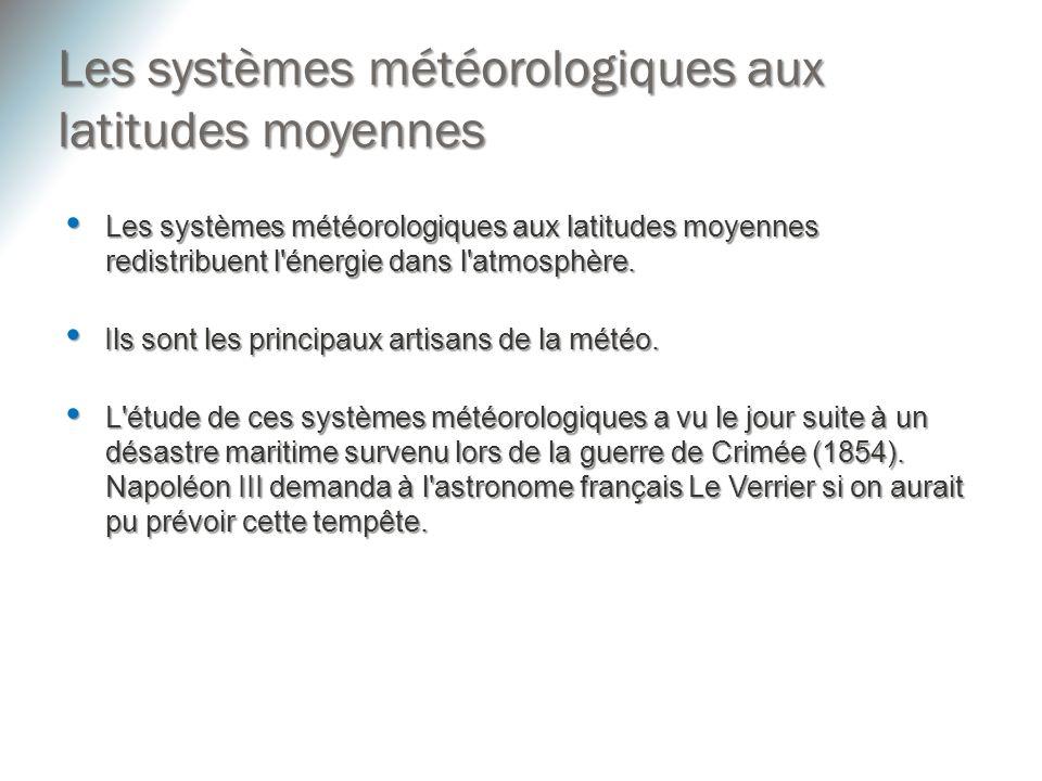 Les systèmes météorologiques aux latitudes moyennes redistribuent l'énergie dans l'atmosphère. Les systèmes météorologiques aux latitudes moyennes red