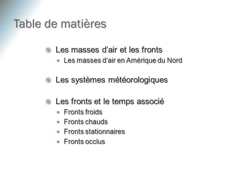 Table de matières Les masses dair et les fronts Les masses dair et les fronts Les masses dair en Amérique du Nord Les masses dair en Amérique du Nord