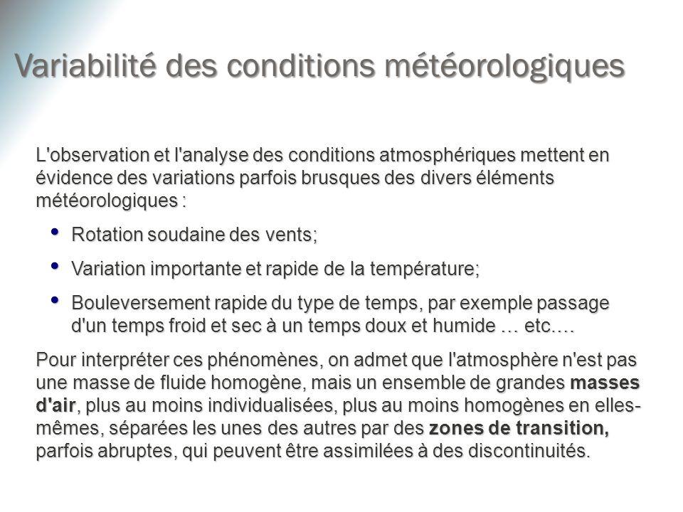 L'observation et l'analyse des conditions atmosphériques mettent en évidence des variations parfois brusques des divers éléments météorologiques : Rot