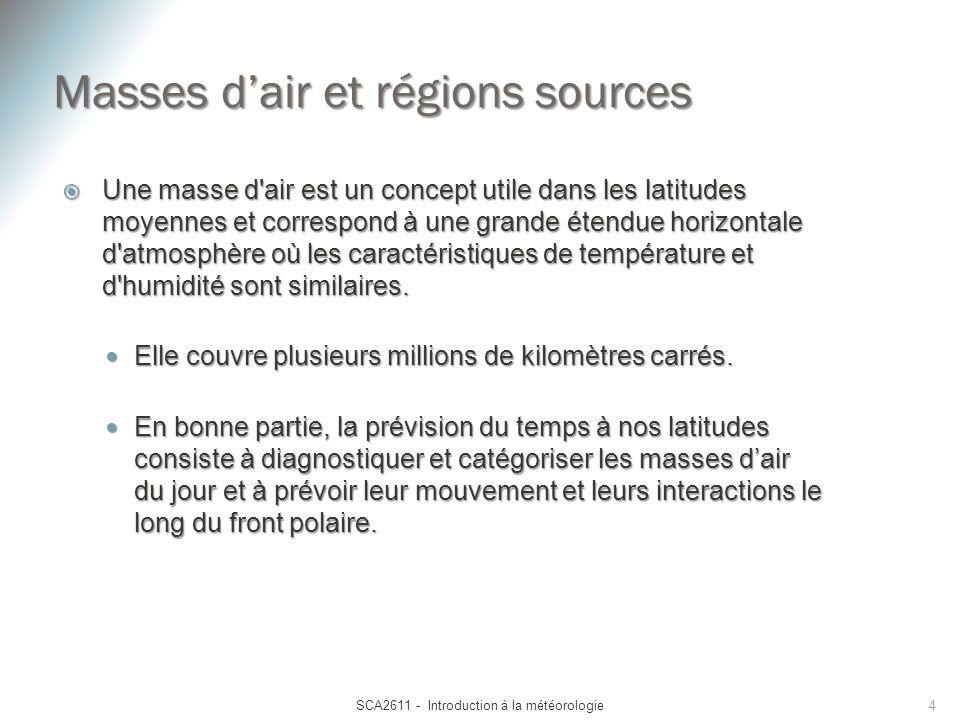Masses dair et régions sources Une masse d'air est un concept utile dans les latitudes moyennes et correspond à une grande étendue horizontale d'atmos