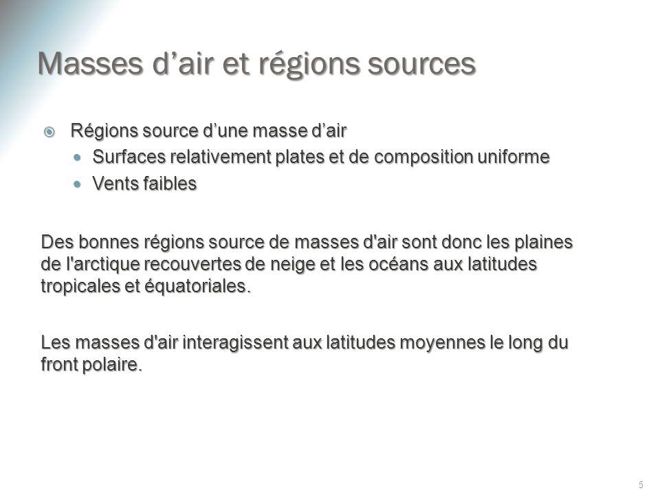 Masses dair et régions sources Régions source dune masse dair Régions source dune masse dair Surfaces relativement plates et de composition uniforme S