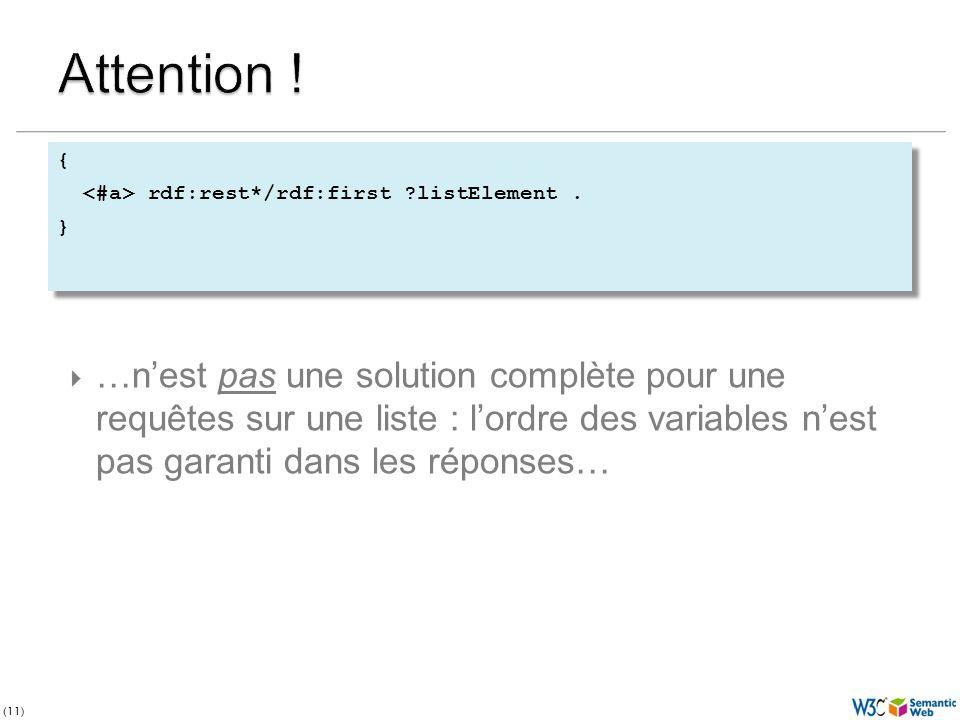 (11) …nest pas une solution complète pour une requêtes sur une liste : lordre des variables nest pas garanti dans les réponses…
