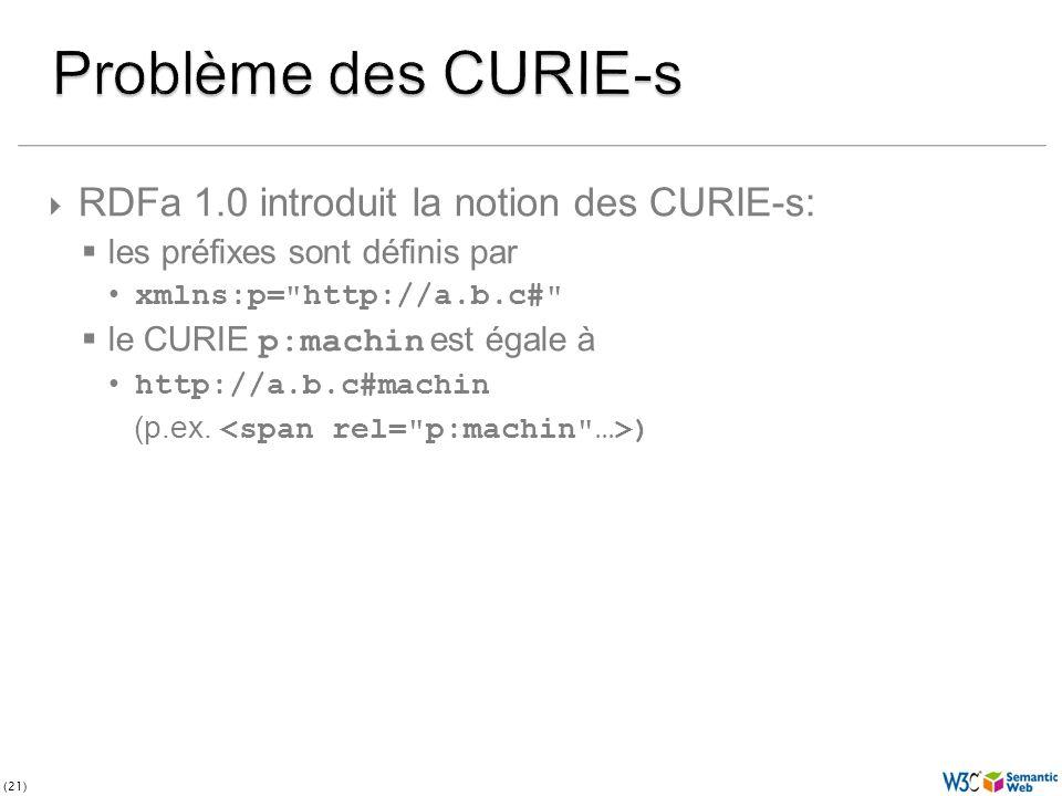 (21) RDFa 1.0 introduit la notion des CURIE-s: les préfixes sont définis par xmlns:p= http://a.b.c# le CURIE p:machin est égale à http://a.b.c#machin (p.ex.