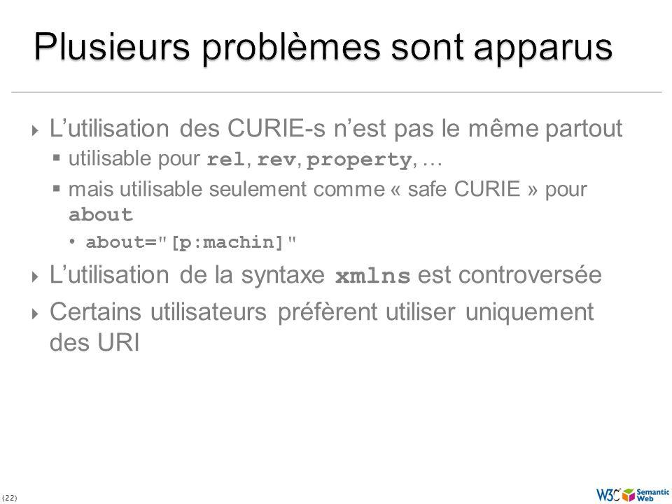 (22) Lutilisation des CURIE-s nest pas le même partout utilisable pour rel, rev, property, … mais utilisable seulement comme « safe CURIE » pour about