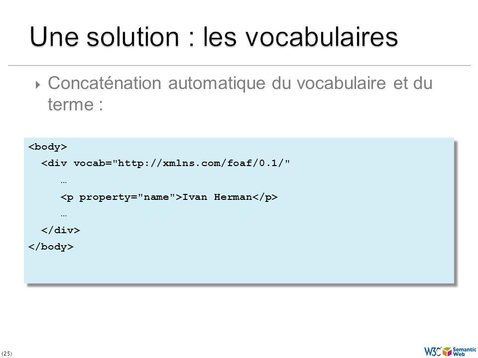 (25) <div vocab= http://xmlns.com/foaf/0.1/ … Ivan Herman … <div vocab= http://xmlns.com/foaf/0.1/ … Ivan Herman … Concaténation automatique du vocabulaire et du terme :