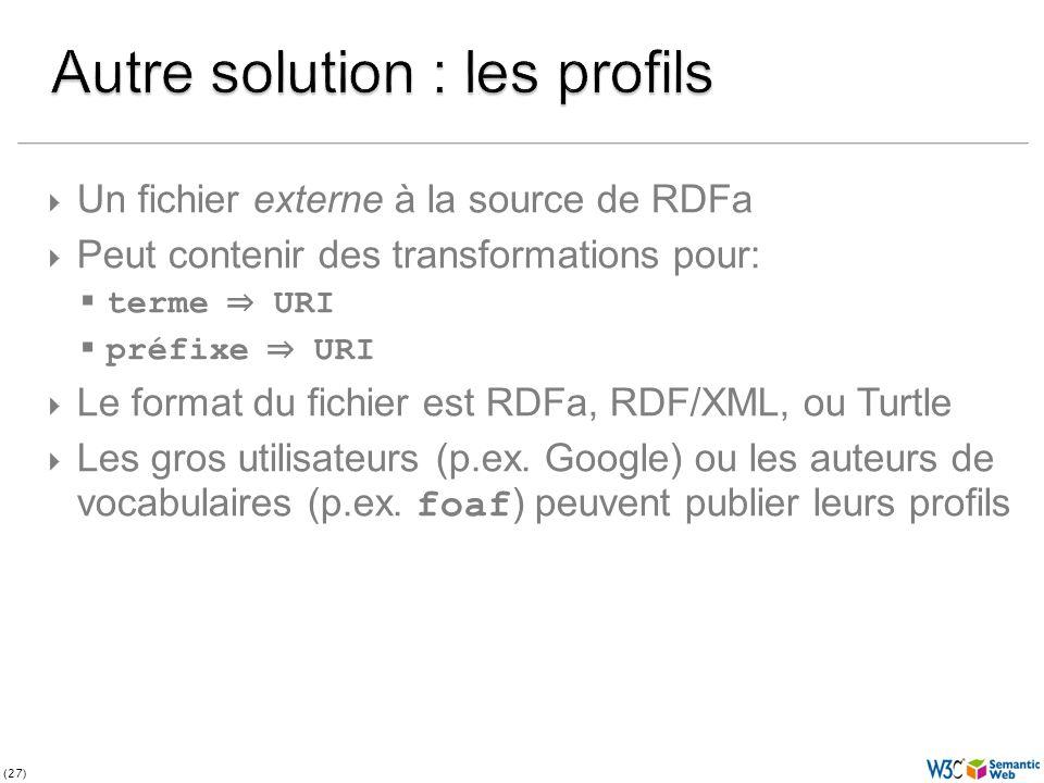 (27) Un fichier externe à la source de RDFa Peut contenir des transformations pour: terme URI préfixe URI Le format du fichier est RDFa, RDF/XML, ou Turtle Les gros utilisateurs (p.ex.