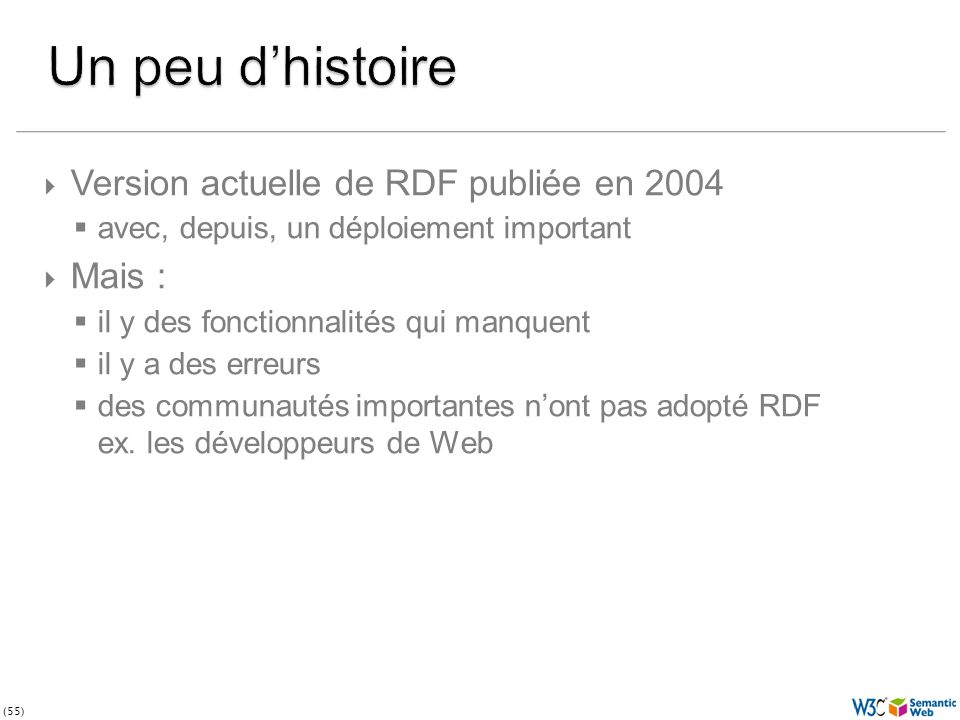 (55) Version actuelle de RDF publiée en 2004 avec, depuis, un déploiement important Mais : il y des fonctionnalités qui manquent il y a des erreurs des communautés importantes nont pas adopté RDF ex.