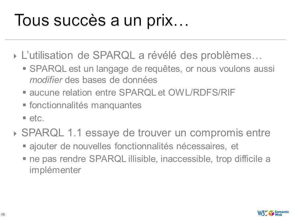 (67) Lautre demande dune grande priorité Nous avons : une « team submission » comme spécificationteam submission SPARQL Query Language N3 Mais il ny a pas de standard