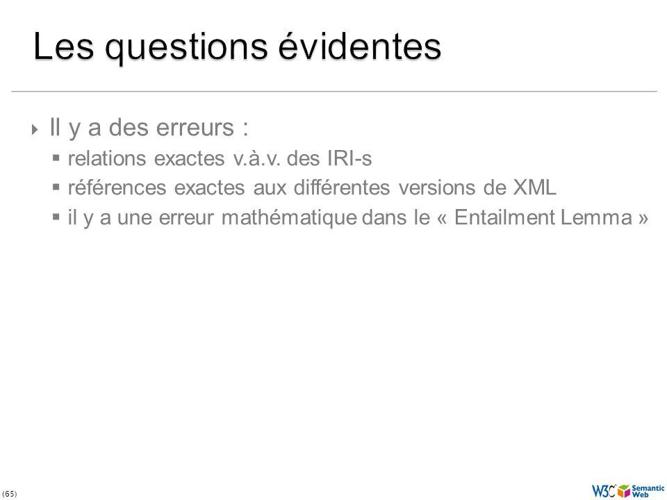 (65) Il y a des erreurs : relations exactes v.à.v. des IRI-s références exactes aux différentes versions de XML il y a une erreur mathématique dans le